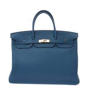 Hermes Blue Togo Leather Gold Hardware Birkin 40 Bag