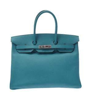 Hermes Green/Blue Epsom Leather Palladium Hardware Birkin 35 Bag