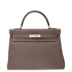 Hermes Grey Clemence Leather Palladium Hardware Kelly 32 (2021) Bag