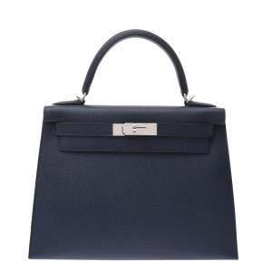 Hermes Navy Blue Epsom Leather Palladium Hardware Kelly 28(2020) Bag