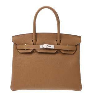 Hermes Brown Togo Leather Palladium Hardware Birkin 30 (2020) Bag