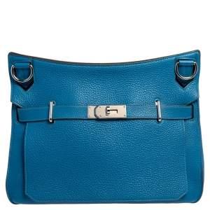 Hermès  Blue Zanzibar Togo Leather Palladium Hardware Jypsiere 34 Bag