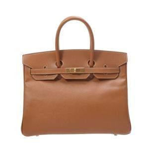 Hermes Beige Courchevel Leather Gold Hardware Birkin 35 Bag