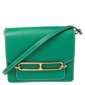 حقيبة هيرمس روليس 24 جلد فيرتيغو إيفركولور خضراء إكسسوار ذهبي