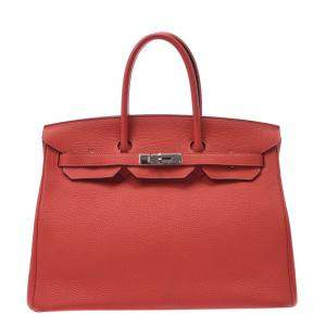 Hermes Rose Taurillon Clemence Leather Palladium Hardware Birkin (2014) 35 Bag
