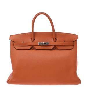 Hermes Orange Leather Palladium Hardware Birkin 40 Bag