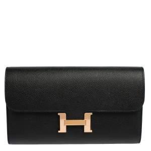 Hermes Noir Epsom Leather Constance Long Wallet