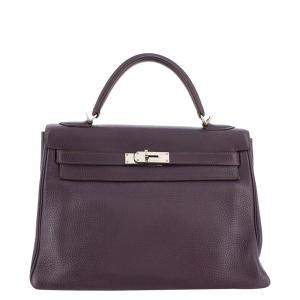 Hermes Purple Clemence Leather Palladium Hardware Kelly Retourne 32 Bag