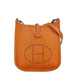 Hermes Orange Clemence Leather Evelyne I TPM Crossbody Bag