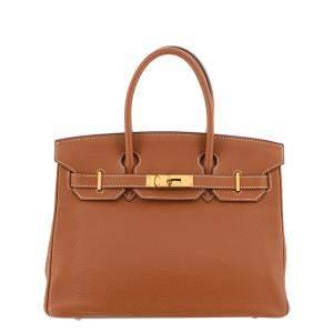 Hermes Brown Taurillon Clemence Leather Gold Hardware Birkin 30 Bag