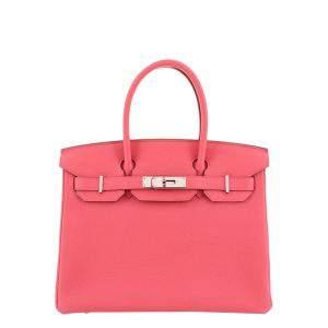 Hermes Pink Togo Leather Palladium Hardware Birkin 30 Bag