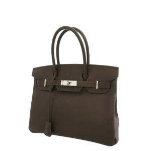 Hermes Brown Epsom Leather Palladium Hardware Birkin 30 Bag