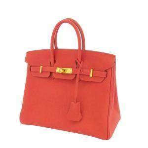 Hermes Red Togo Leather Gold Hardware Birkin 25 Bag