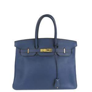 Hermes Blue Clemence Leather Gold Hardware Birkin 35 Bag
