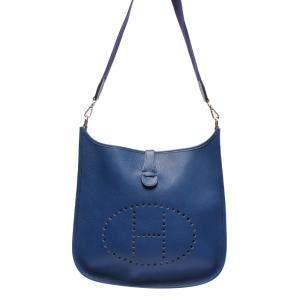 Hermes Blue Leather Evelyne I Shoulder Bag