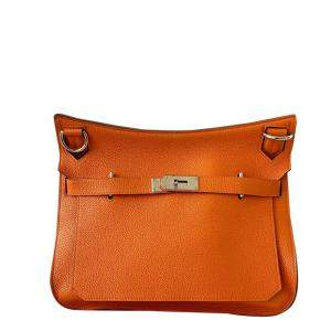 Hermes Orange Taurillon Clemence Leather Gold-plated Palladium Jypsiere 28 Bag