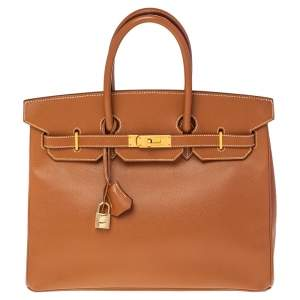 Hermes Gold Courchevel Leather Gold Hardware Birkin 35 Bag