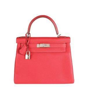 Hermes Red Rouge Casaque Togo Leather Palladium Hardware Kelly 28 Bag