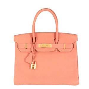 Hermes Pink/Rosy Clemence Leather Gold Hardware Birkin 30 Bag