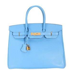 حقيبة هيرمس بيركين 35 جلد إيبسوم أزرق بمعدن ذهبي