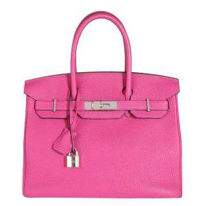 Hermes Pink/ Rose Pourpre Togo Leather Palladium Hardware Birkin 30 Bag