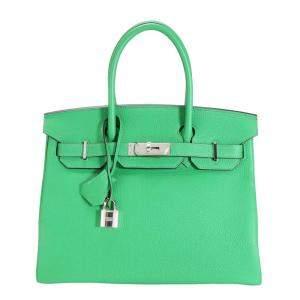 حقيبة هيرمس بيركين 30 جلد توغو أخضر بمعدن بلاديوم