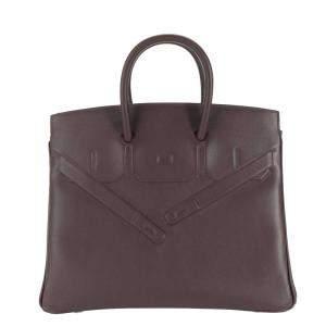 Hermes Bordeaux Evercalf Leather Shadow Birkin 25 NIB Bag
