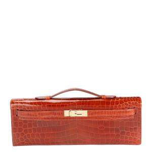 Hermes Brown/Miel Shiny Niloticus Crocodile Leather Kelly Cut Bag