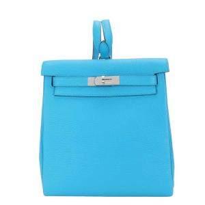 Hermes Blue Clemence Leather Kelly Ado II Backpack