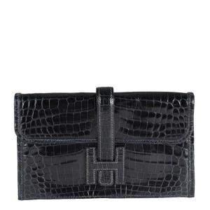 Hermes Blue Marine Shiny Niloticus Crocodile Leather Mini Jige 20 Bag