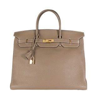 Hermes Brown/Etoupe Togo Leather Gold Hardware Birkin 40 Bag