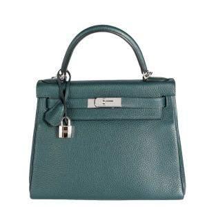 Hermes Green Vert Cypress Togo Leather Palladium Hardware Kelly 28 PHW Bag
