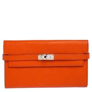 Hermès Orange Chevre Mysore Leather Kelly Classic Wallet