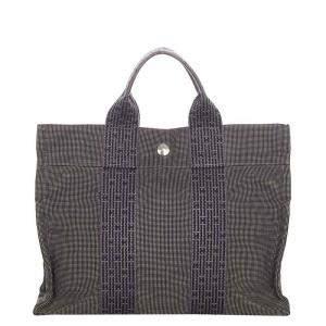Hermes Grey/Blue Canvas Herline PM Bag