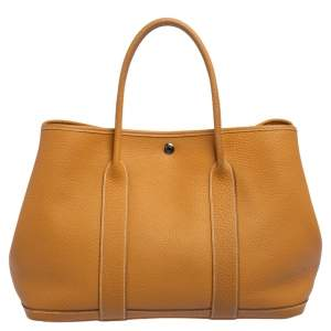 Hermes Natural Fjord Leather Garden Party 36 Bag