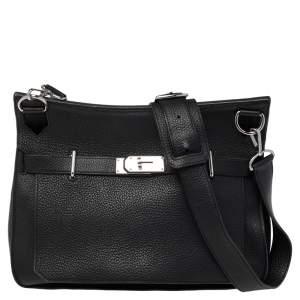 Hermès Noir Taurillon Clemence Leather Palladium Hardware Jypsiere 34 Bag