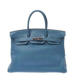Hermes Blue Togo Leather Palladium Plated Hardware Birkin 35 Bag