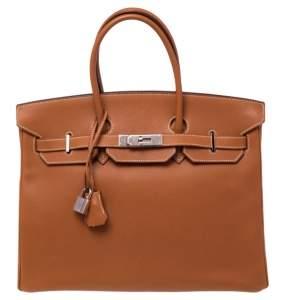 Hermes Gold Epsom Leather Palladium Plated Birkin 35 Bag