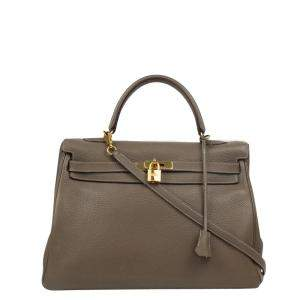 Hermes Brown Leather Gold Hardware Kelly 35 Bag