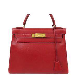 Hermes Red Calf Leather Gold Hardware Kelly 28 Bag