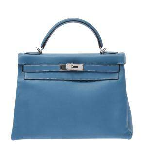 Hermes Blue Swift Leather Palladium Hardware Kelly 32 Bag
