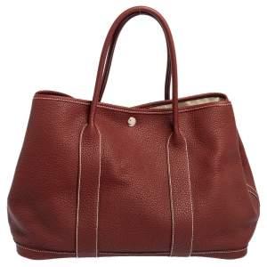 Hermes Rouge H Negonda Leather Garden Party 36 Bag