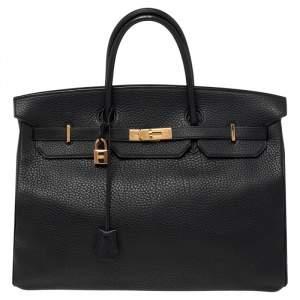 Hermes Noir Fjord Leather Gold Plated Birkin 40 Bag