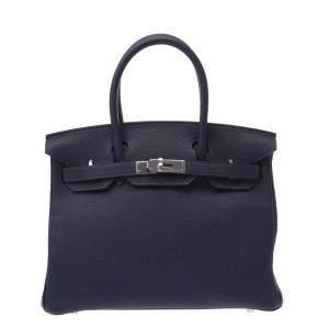 Hermes Navy Blue Togo Leather Palladium Hardware Kelly 30 (2021) Bag