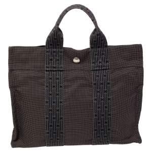 Hermes Grey/Black Canvas Fourre Tout PM Bag