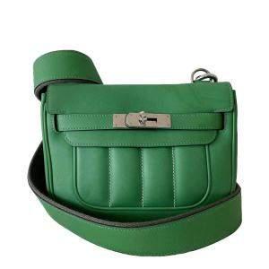 Hermes Green Leather Mini Berline Shoulder Bag