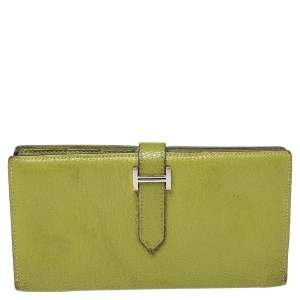 Hermes Apple Green Mysore Leather Bearn Gusset Wallet
