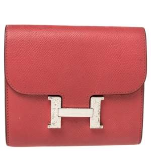 Hermes Rose Lipstick Epsom Leather Constance Compact Wallet