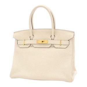 Hermes White/Beige Taurillon Clemence Leather Gold Hardware Birkin 30 Bag