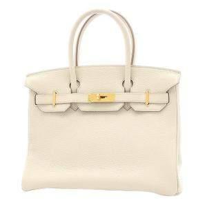 Hermes White/Beige Togo Leather Gold Hardware Birkin 30 Bag
